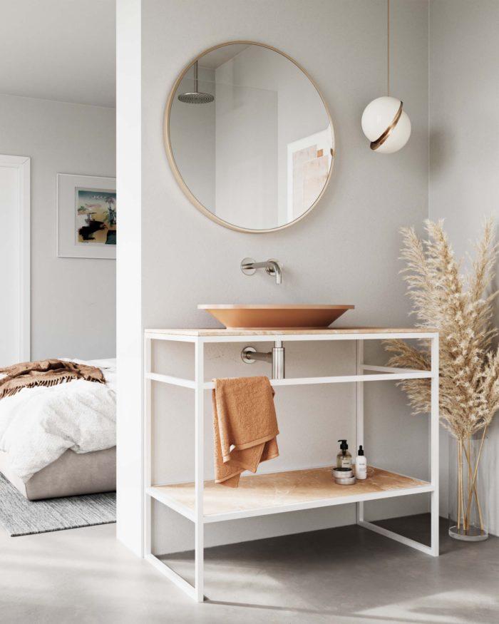 Amber una joya en tu baño, lavamanos y mueble