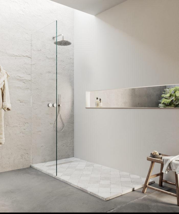 Tiles plato de ducha cuadriculado, ambiente